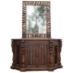 High End African Safari Mirror and Vanity from our handcrafted Wild West furniture collection. 7469