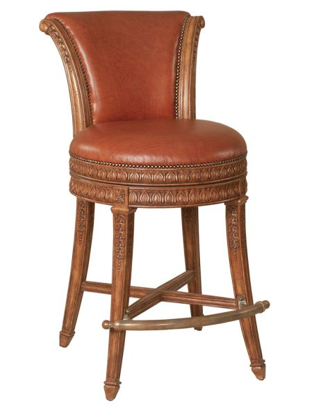 Luxury Leather & Upholstered Furniture Lido Finished Mahogany Barstool, Brown Leather Upholstery, Brass Footrest