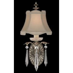 Two-arm wall sconce of steel in warm antiqued silver finish