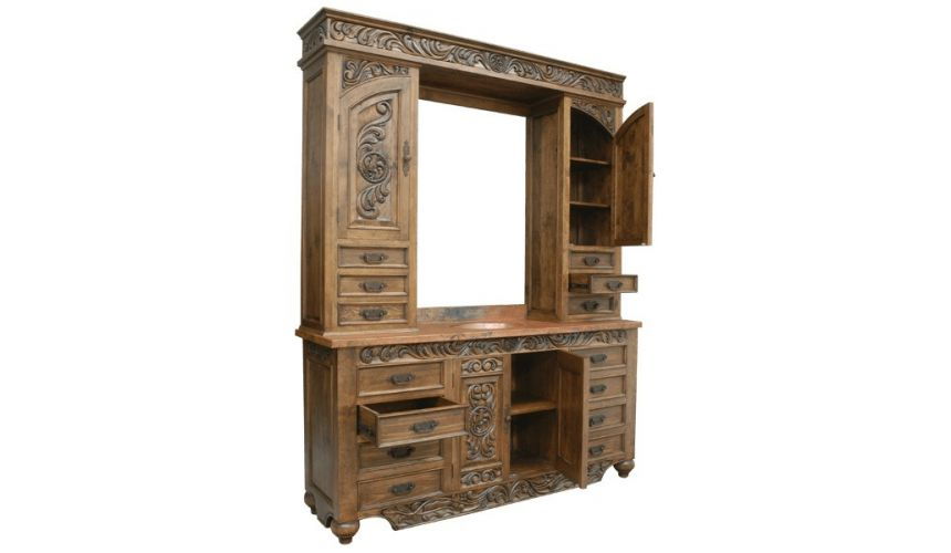 Dressing Vanities & Furnishings Beautiful Weathered Almond Vanity from our handcrafted Wild West furniture collection. 7480