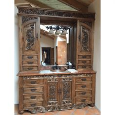 Beautiful Weathered Almond Vanity from our handcrafted Wild West furniture collection. 7480