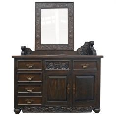 Deluxe Dark and Detailed Vanity and Sink from our handcrafted Wild West furniture collection. 7482