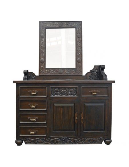 Dressing Vanities & Furnishings Deluxe Dark and Detailed Vanity and Sink from our handcrafted Wild West furniture collection....