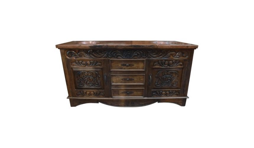 Dressing Vanities & Furnishings Elegantly Detailed Vanity in Pinero Wood from our handcrafted Wild West furniture collection....