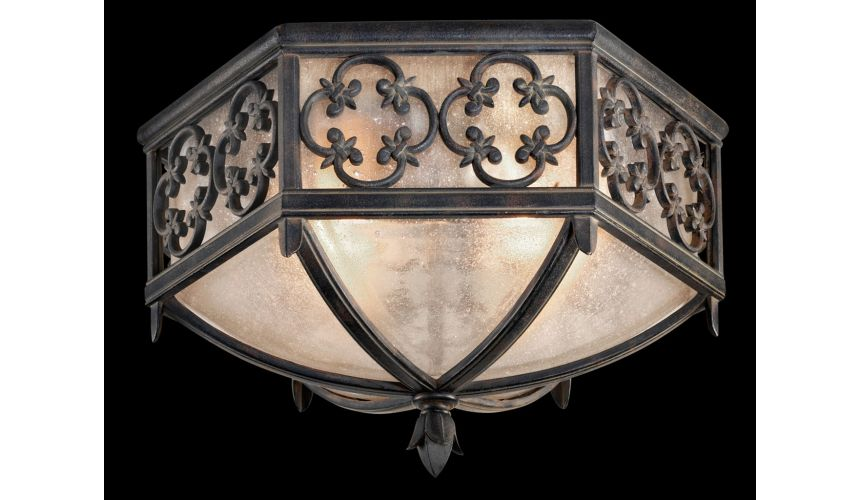 Lighting Flush mount in stylized quatrefoil design features Marbella