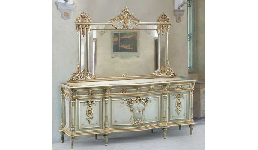 Breakfronts & China Cabinets Luxurious Poseidon's Palace Sideboard from our European hand painted furniture collection. 7201