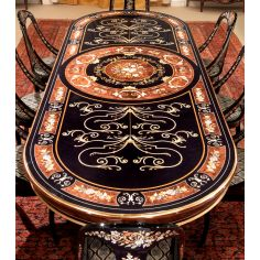 10 Luxury dining furniture. Ebony and Walnut burl.
