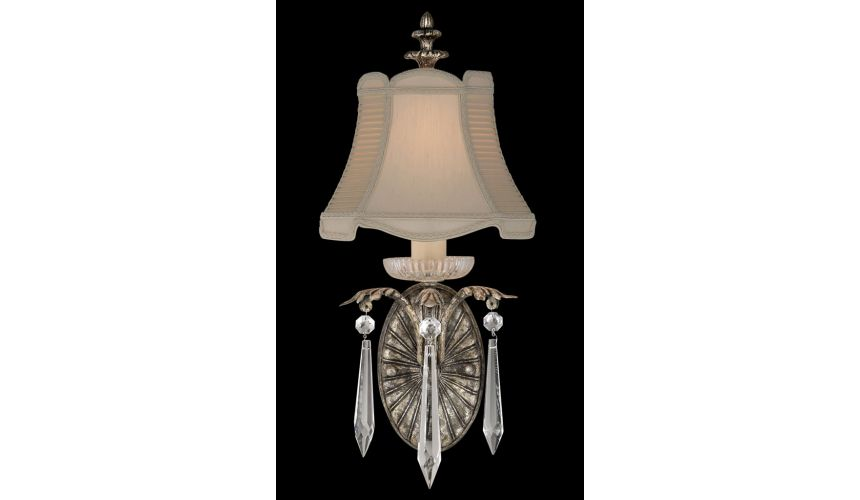 Lighting Wall sconce of steel in warm antiqued silver finish with brilliant crystal drops