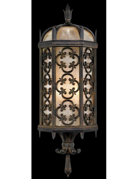 Lighting Wall sconce in stylized quatrefoil design features Marbella wrought iron