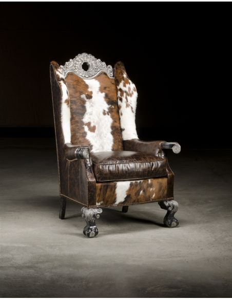 Luxury Leather & Upholstered Furniture Spotted Hair Hyde Chair, High End Luxury Leather Furniture