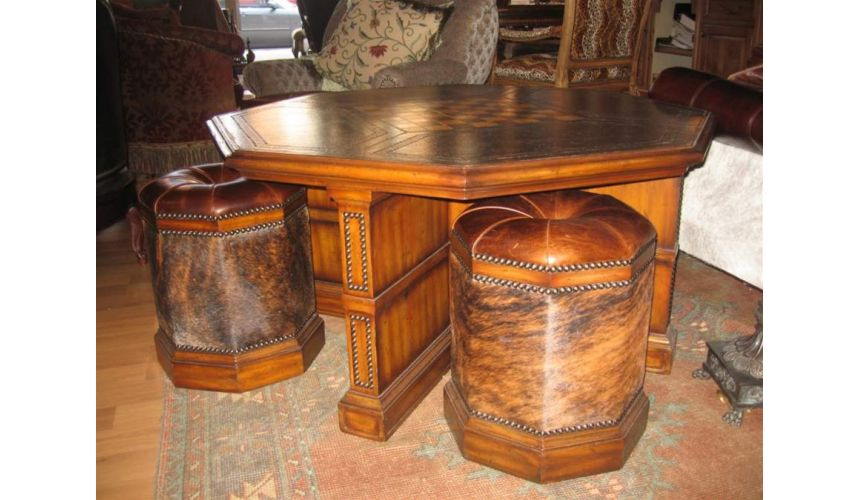 Decorative Accessories Luxury furniture. Leather cocktail table with four hair hide stools.