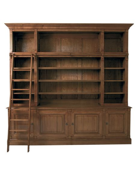 Bookcases High end library bookcase with ladder, French country home.