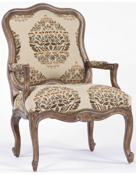Luxury Leather & Upholstered Furniture White and Brown Pattern Fancy Chair