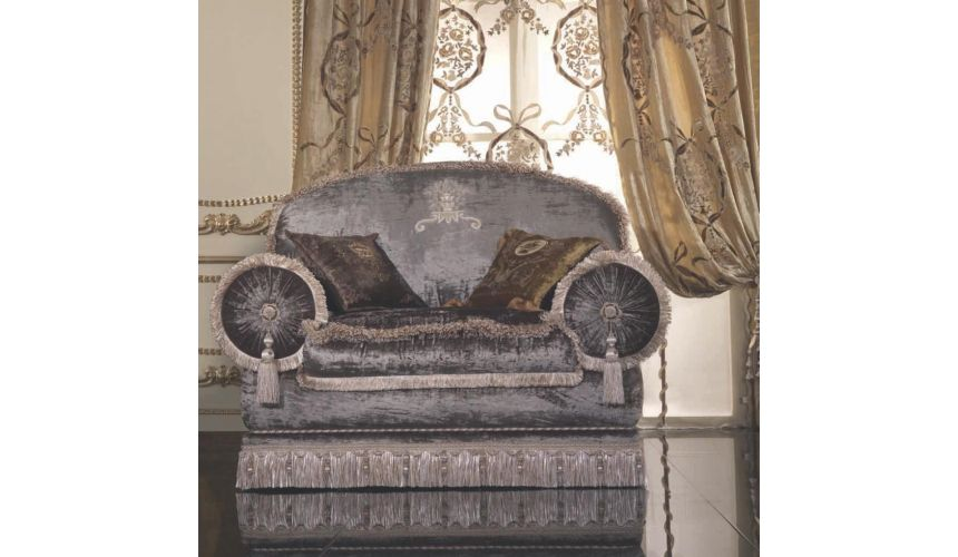 Custom Window Treatments Luxurious velvet chair and living room set with hand sewn embroidery