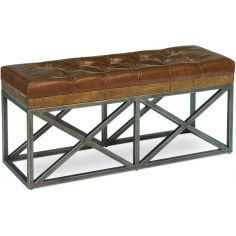 Tufted Leather Cushioned Bench