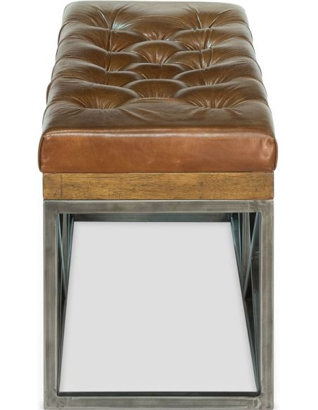 Luxury Leather & Upholstered Furniture Tufted Leather Cushioned Bench