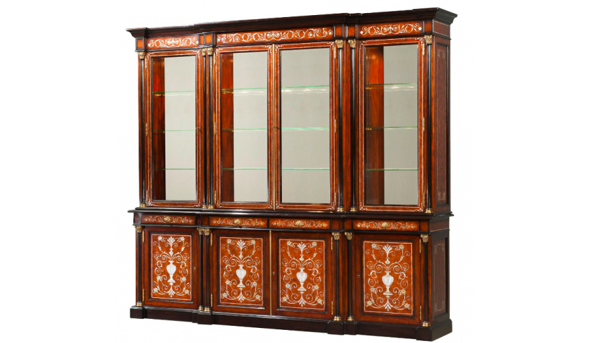 Display Cabinets and Armories Gorgeously Detailed Burnt Cinnamon Showcase Cabinet