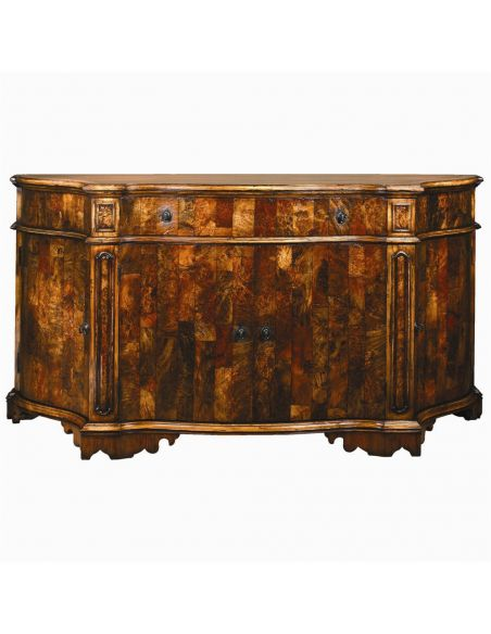 Breakfronts & China Cabinets 1 European inspired chest of burl wood in gun metal finish.