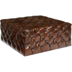 Large Tufted Leather English Ottoman