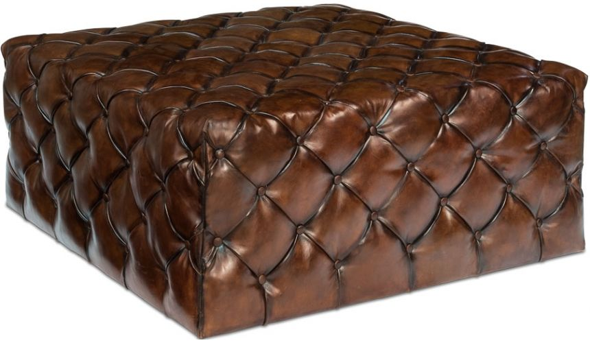 Luxury Leather & Upholstered Furniture Large Tufted Leather English Ottoman