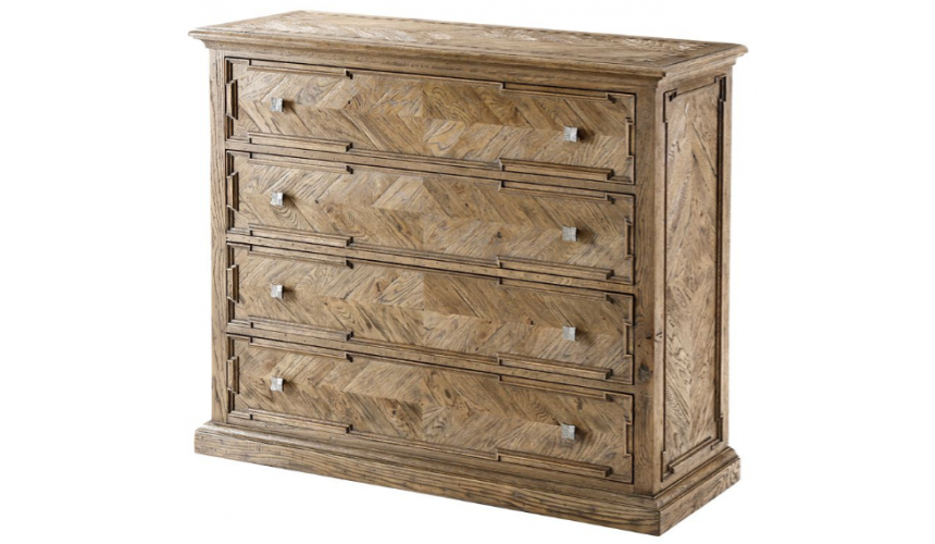Chest of Drawers High End Checker Banded Oak Chest of Drawers
