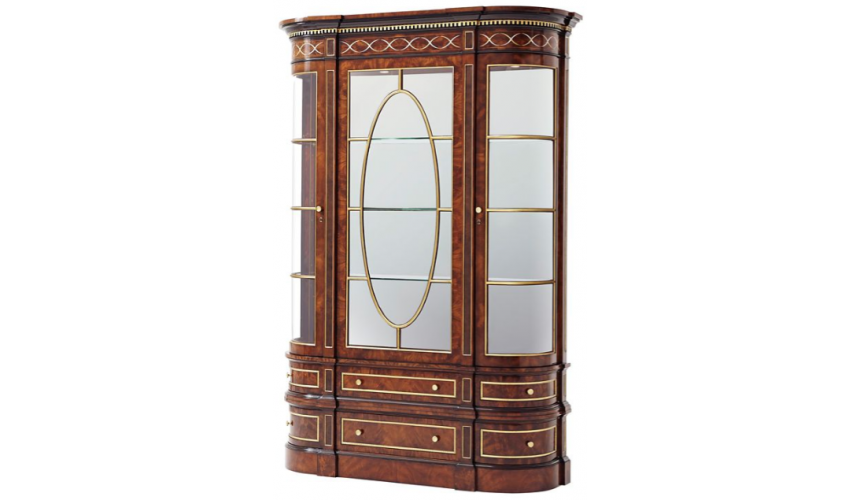 Display Cabinets and Armories Deluxe Golden Geometric Display Cabinet
