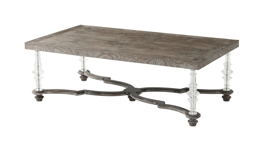 Rectangular and Square Coffee Tables Elegant Vintage Oak Table with Wavy X Stretcher