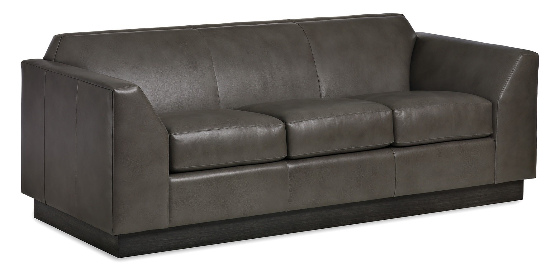High End Slate Gray Leather Sofa