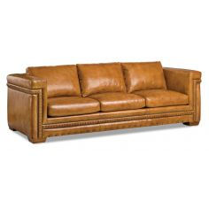Beautiful Marigold Leather Sofa with Intricate Detailing