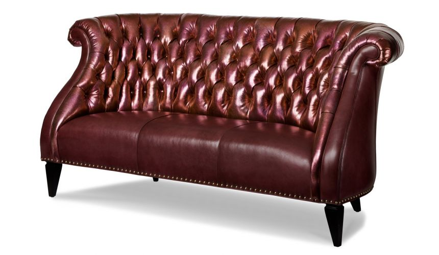 SOFA, COUCH & LOVESEAT Luxurious Buttoned Leather Customizable Sofa