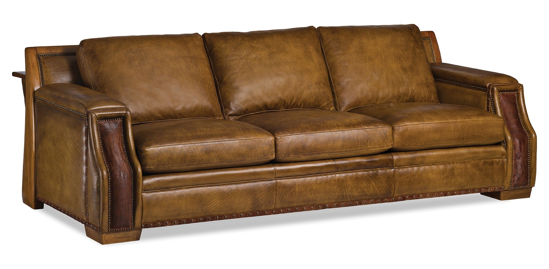 Gorgeous Weathered Caramel Sofa