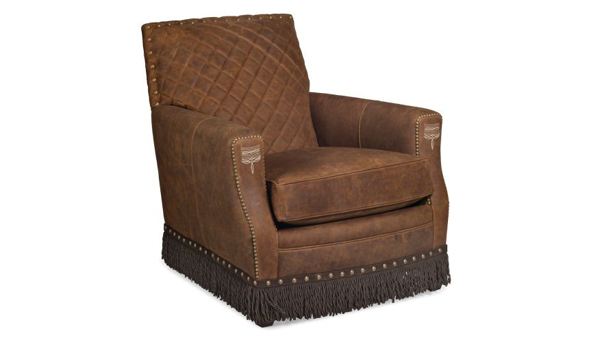 CHAIRS, Leather, Upholstered, Accent Deluxe Rustic Caramel Armchair with Fringe