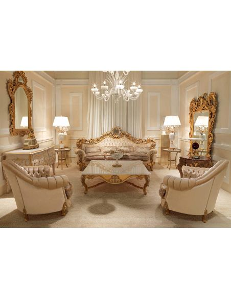 Queen and King Sized Beds Elegant and Royal Golden Plush Living Room Furniture Set