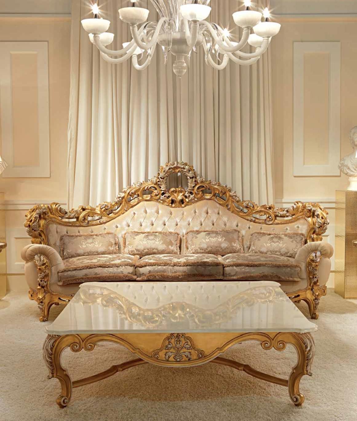 Elegant Furniture: Elegant And Royal Golden Plush Living Room Furniture Set