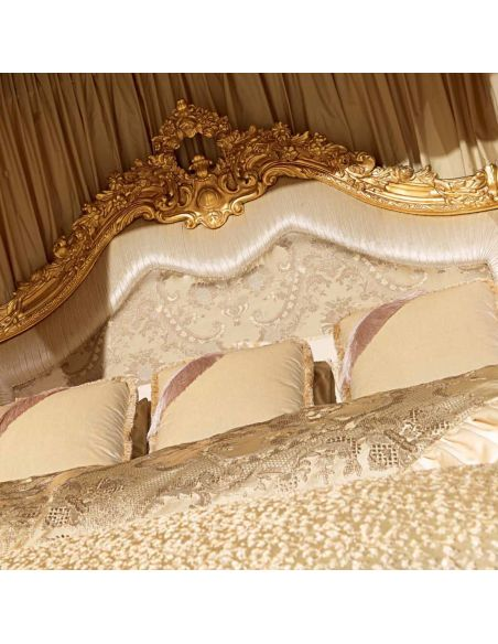 Queen and King Sized Beds Luxurious Golden Grecian Bedroom Furniture Set