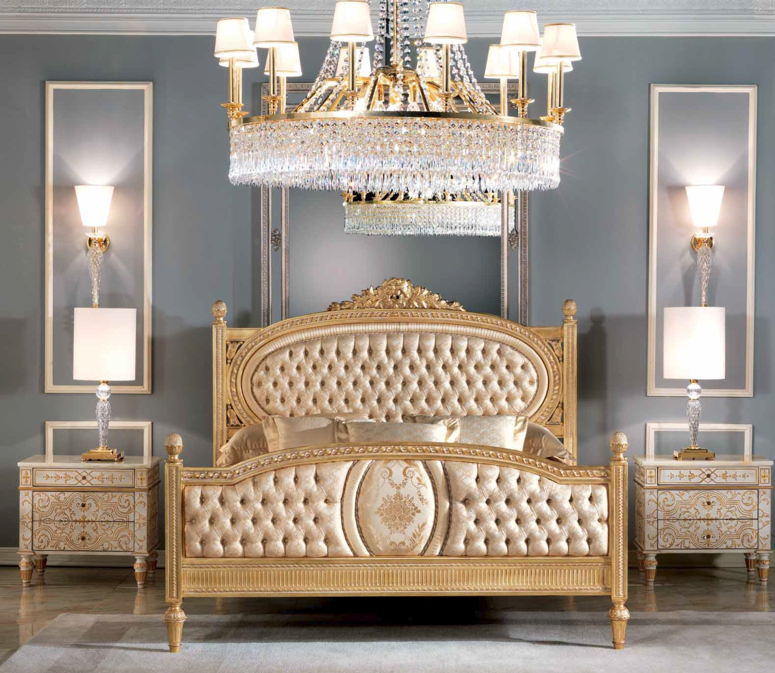 Queen And King Sized Beds Royal Pure Golden Bedroom Furniture Set