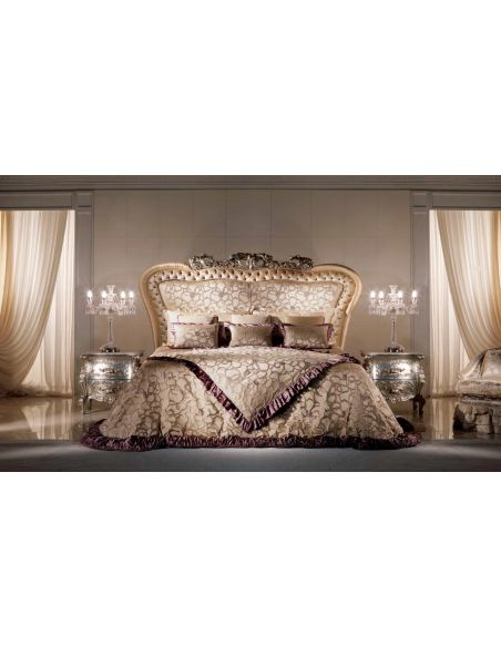 Queen and King Sized Beds High End Velvet Petals Bedroom Furniture Set