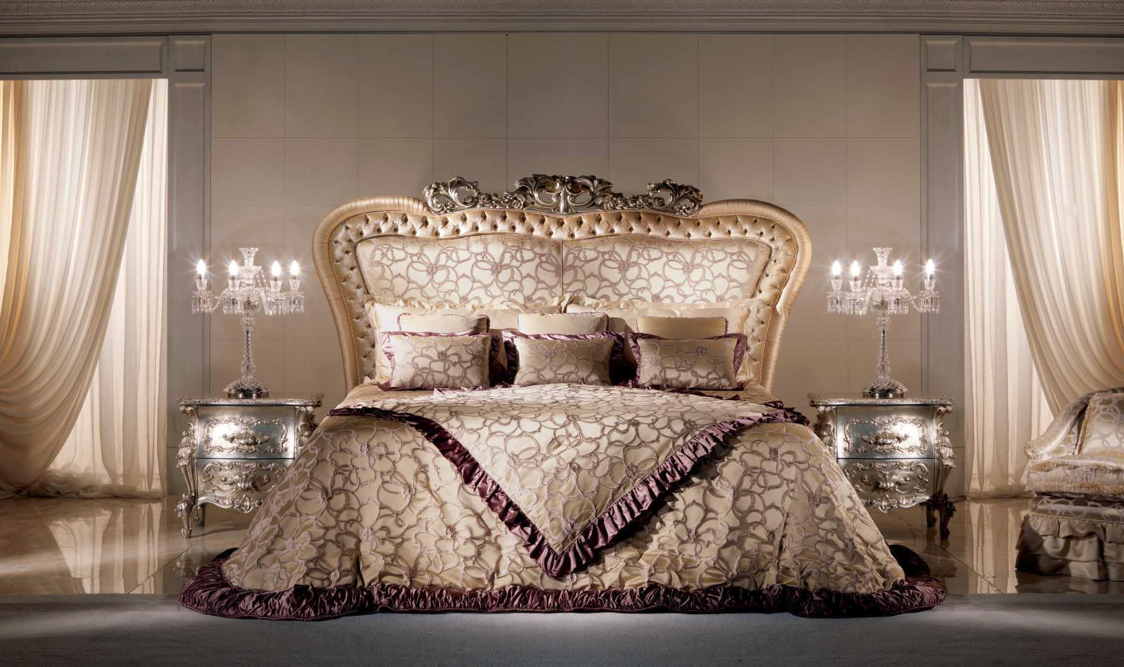 High End Velvet Petals Bedroom Furniture Set