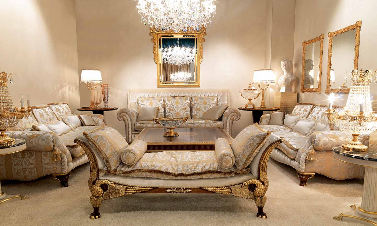 Luxurious Cinderella Blue Living Room Furniture Set