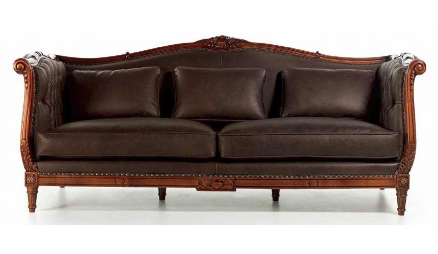 SOFA, COUCH & LOVESEAT Elegant Black Coffee 3 Seat Sofa