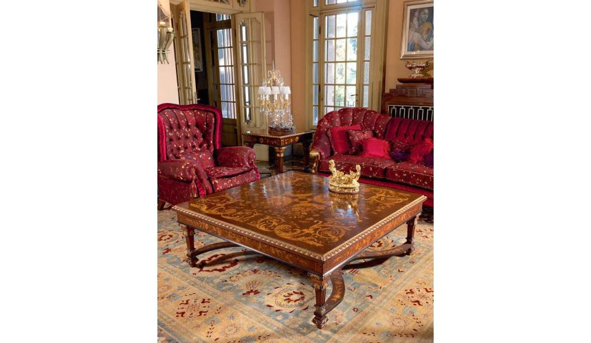 Handmade Italian Luxury Furniture Deluxe Royal Rose and Country Side Flowers Living Room Furniture Set