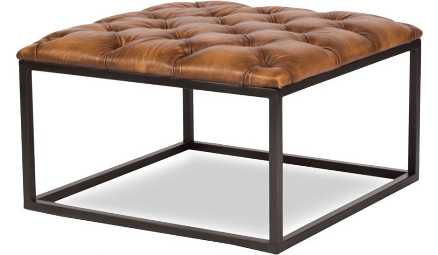 Luxury Leather & Upholstered Furniture Comfy Square Shaped Stool