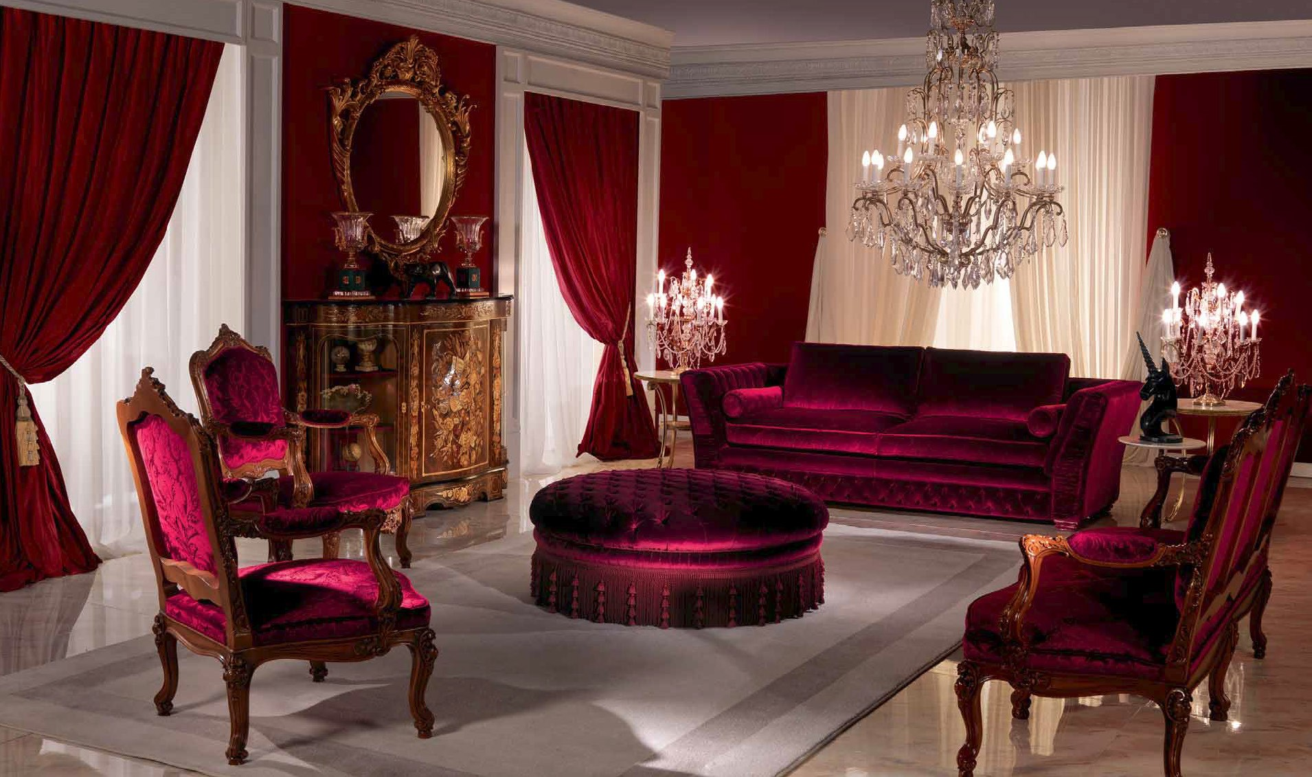 Breathtaking Royal Ruby Living Room Furniture Set