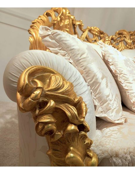 SOFA, COUCH & LOVESEAT High End Golden and Ruffled Angelic Living Room Furniture Set