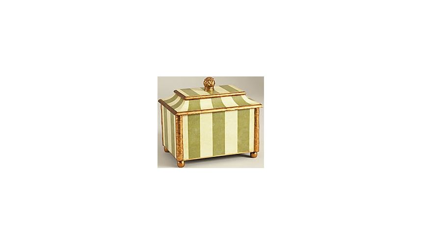 Decorative Accessories Green Striped Box with Gold Accents