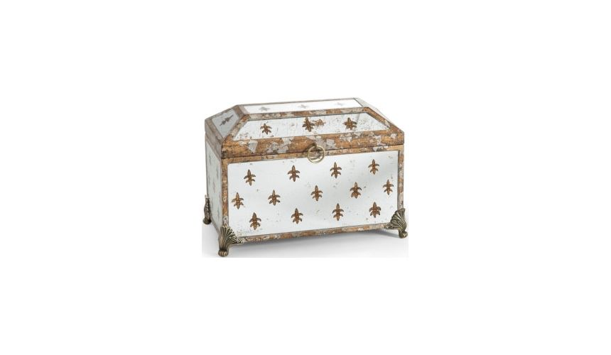Decorative Accessories Fleur De Lis Hand-painted Mirror Box