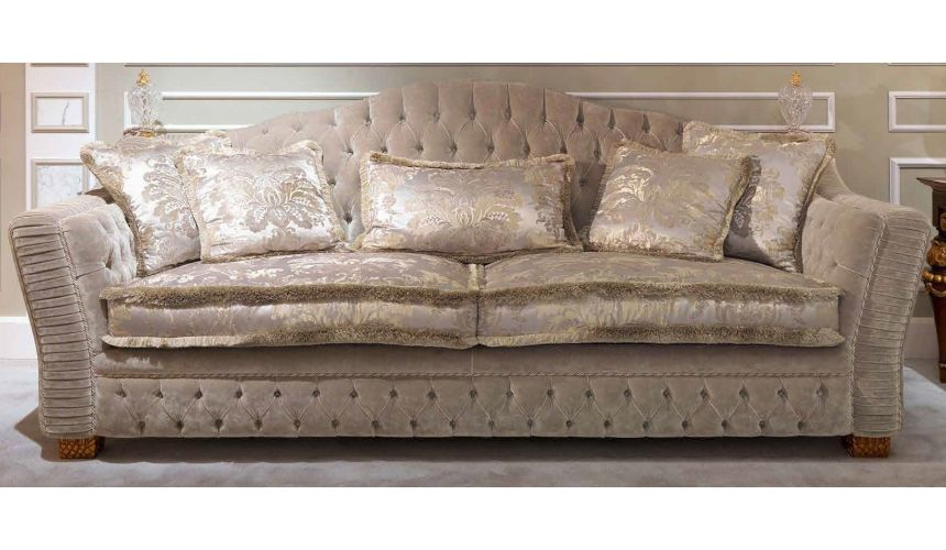 SOFA, COUCH & LOVESEAT Luxurious Soft and Plush Golden Grey Sofa
