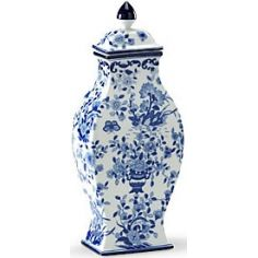 Floral Patterned Blue & White Vase