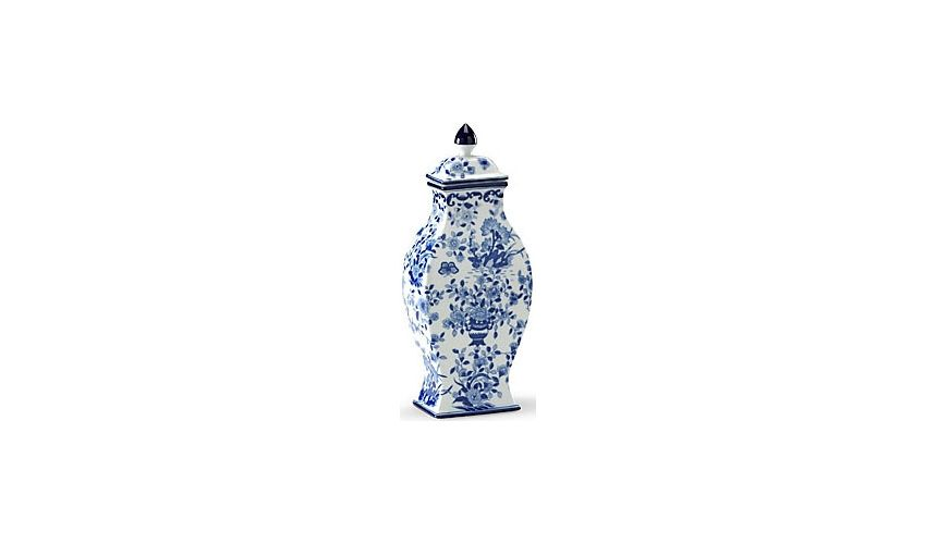 Decorative Accessories Floral Patterned Blue & White Vase