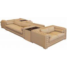 High End Plush and Comfortable Sepia Sofa Set